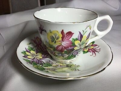 Royal Stafford Bone China Cup And Saucer England     Aquilegia Pattern