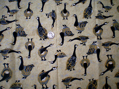1/2 yd Black, Gold, & Gray Geese on Gold Feathers Cotton Fabric