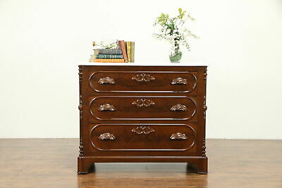 Victorian Antique Carved Walnut Dresser or Linen Chest, Marble Top #31034