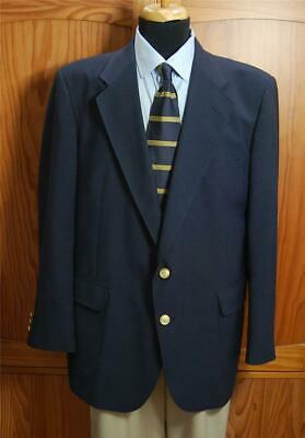David Taylor Navy Blue 2Gold Bttn Wool Blend Blazer Sport Coat Suit Jacket 44R