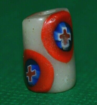 Antique Venetian White Italian Glass Bead Millefiori Cane Inserts, African Trade