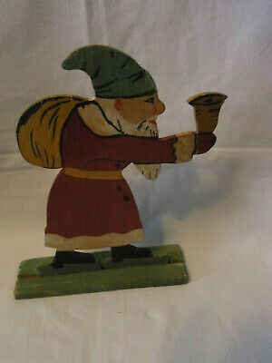 Vintage German Wood Fretwork Hand Painted Santa Claus with Bell #F