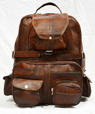 75353fffb Real genuine leather Men's Backpack Bag laptop Satchel briefcase Brown  Vintage
