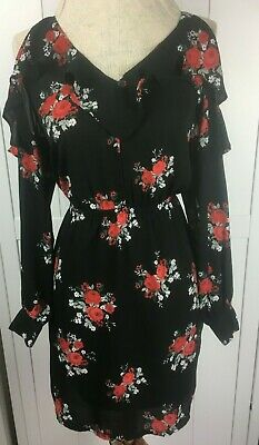 73106f06204a H&M DRESS - Size 6 - Black -Red Floral Print - Light - long sleeves