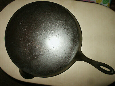 Antique Gate Mark 10 Cast Iron Skillet Fancy Ornate Handle Civil War HTF Rare US
