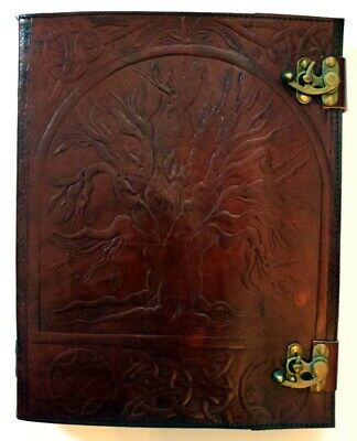 Tree of Life 360 Page Embossed Leather Journal with Metal Locks 10 x 13 Inch