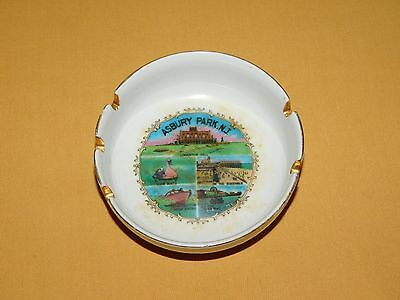 "Vintage Tobacco 5 1/4"" Across Asbury Park Nj Souvenir Ceramic Ashtray"