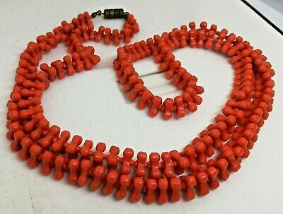 Collana Vintage design Modernist 1970's plastic lucite red necklace