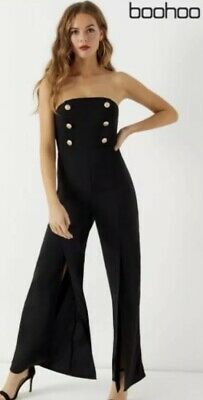 Bnwt Boo Hoo Black Military Button Jumpsuit Size 16