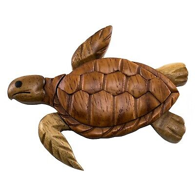 """Wood Intarsia Sea Turtle Keychain Key Ring Handcrafted 2.25/"""" Long New!"""