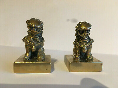 Fine Pair of antique 19th century Chinese Polished bronze seal- Buddhist Lion