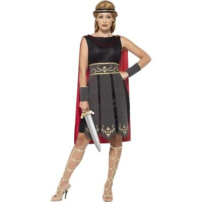 Roman Warrior Costume Black With Dress Attached Cape Arm Cuffs & Headband -
