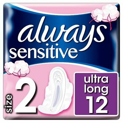 Always Sensitive Long Size 2 Sanitary Towels With Wings 12 Pack