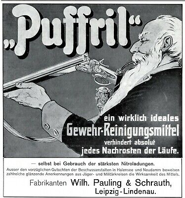 Advertising-print Rifle Cleaning Agent Puffril 1908 Ad German Advertising Hunter Pauling Schrauth