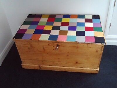 Vintage / antique pine chest / trunk with hand made tapestry top