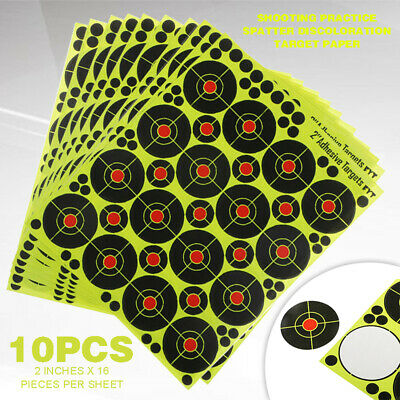 10 Sheets 2'' Shooting Range Paper Targets Splatter Self Adhesive For Archery