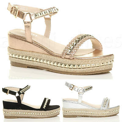 Womens Ladies Mid Wedge Heel Flatform Studded Sandals Platform Espadrilles Size