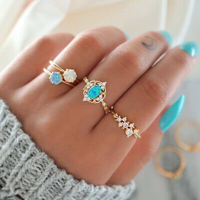 4Pcs/Set Boho Candy Color Fire Opal Midi Finger Ring Knuckle Rings Set Jewelry