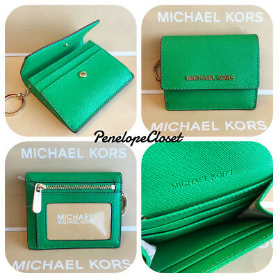 cd61b750c5cecf Nwt Michael Kors Leather Jet Set Travel Card Case Id Key Holder In Palm