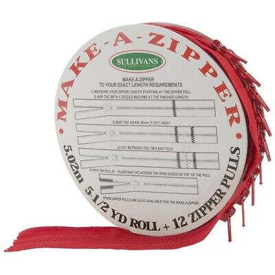 Sullivans Make-a-zipper Kit, 5-1/2-yard, Red, - Makeazipper 512ydred