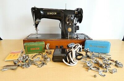 Singer 201K Electric Sewing Machine w Hard Case & Lots of Accessories, 1954