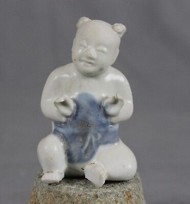 Ca Mau Chinese Shipwreck Porcelain Seated Boy Figure Two Top Knots c1725