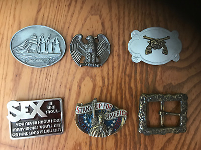 (6) vintage belt buckles TALL SHIPS EAGLE AMERICA PISTOLS SEX pewter brass