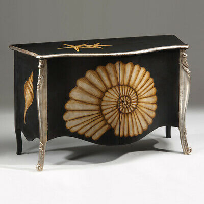 Magnificent Louis XV Hand Painted Shell Silverleaf Carved Wood Cabinet Credenza