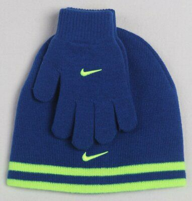 28cd9d3191eba Nike Boys Swoosh Beanie Hat Gloves 2PC Set Blue Yellow Reversible Size 8 20  NWT