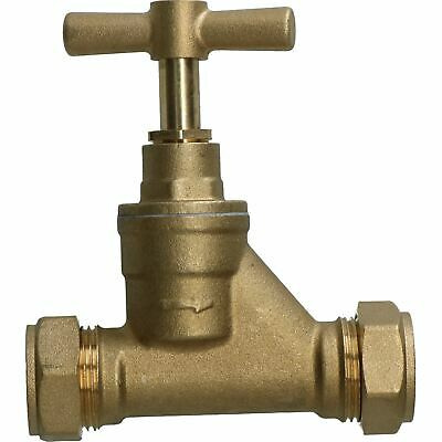 Brass Stop Cock 22mm Pipe Mains Water Supply Control Valve Compression Fitting