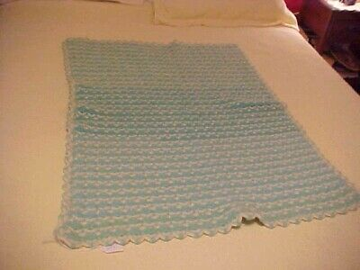VINTAGE CROCHETED AFGHAN or BABY BLANKET, GREEN AND WHITE DESIGN