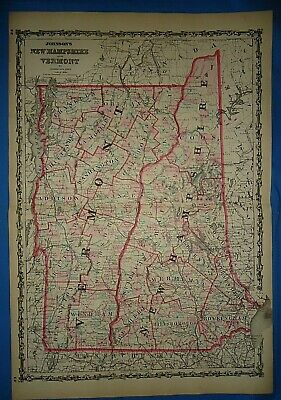 Vintage 1862 NEW HAMPSHIRE VERMONT Map Old Antique Original Johnson's Atlas  425