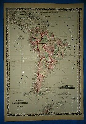 Vintage 1862 SOUTH AMERICA Map Old Antique Original Johnson's Atlas Map 425