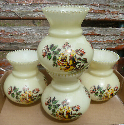 Vaseline Glass Hurricane Shade Globe Lot of 4 Floral Decorated