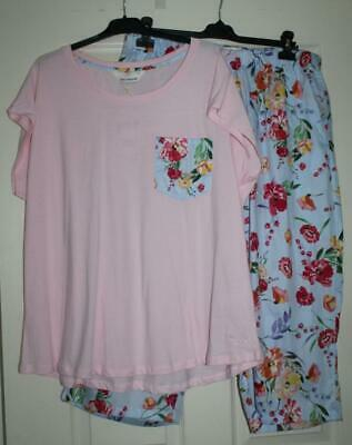 Peter Alexander Pink & Blue Cotton Floral PJ  Set  Sz XXL (18) NWT