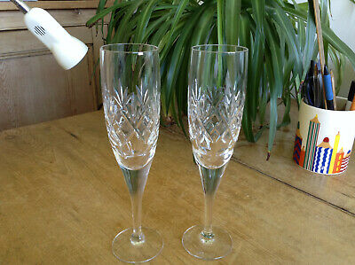 Georgian int, 2 Signed Royal Doulton Victoria Cut Crystal Long Stem Champagnes >