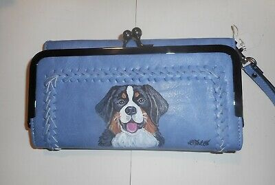 Bernese Mountain Dog Hand Painted Blue Leather Wallet for Women Vegan Wristlet