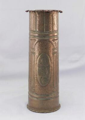 Antique 1917 WWI Trench Art Vase~Arts & Crafts Hammered Copper~After Roycroft