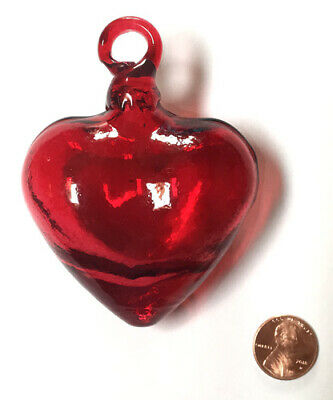 Medium RED HAND BLOWN GLASS HEART, Mexican handicraft, love, wedding, decor