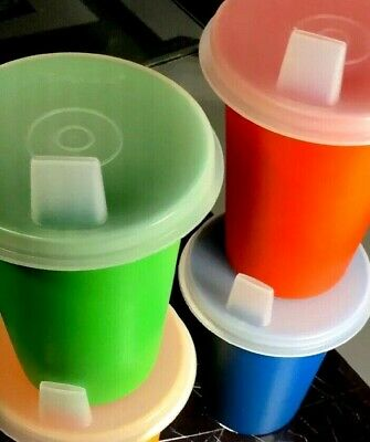 Tupperware NEW Vintage Bell Tumbler SIPPY Cups 7oz Set Of 4 MADE IN USA *NOS*