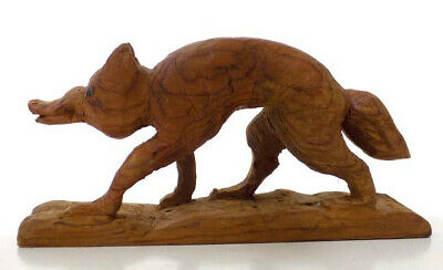 Vintage Hand Carved Wood Fox Sneaky and Scruffy