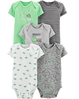 1fe4f5676 CARTER'S BABY BOYS' 5 Pack Short Sleeve Bodysuits NWT 3 Months ...