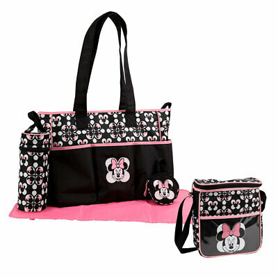 Disney Minnie Mouse 5pcs Large & Small Baby Diaper Bag, Bottle & Pacifier Tote B