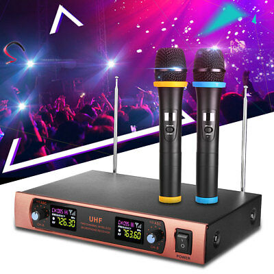 2Channel UHF Dual Handheld Wireless Microphone System Cordless Mic Hom Amplifier