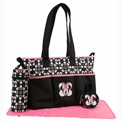 Disney Baby Minnie Mouse 4 pcs Diaper Bag Bottle, Pacifier Tote Black Pink Heads