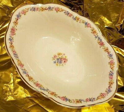 """Taylor Smith & Taylor China 2392 Floral Gold - 9"""" OVAL VEGETABLE SERVING BOWL"""