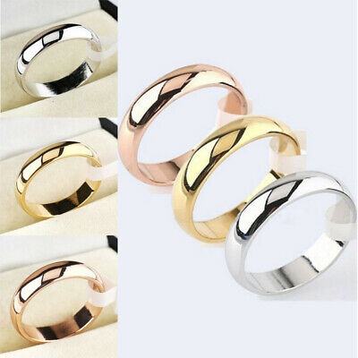 Women Stainless Steel Band Ring Polished Wedding Engagement Party Size 5-12 4mm