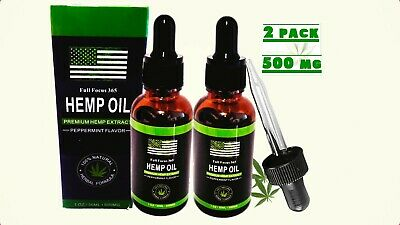 Organic Hemp Seed Oil Drops 500mg Anxiety Stress Pain Relief Sleep Aid Md 2 pack