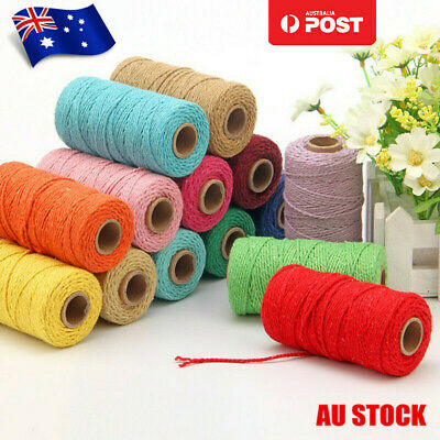 100m 3mm Natural Cotton Rope Cord String Twisted Beige Craft Macrame Artisan AU