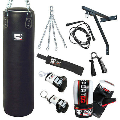 Sporteq® 4ft/5ft Leather Heavy Filled Punch Bag Kickboxing Glove Chain Bracket